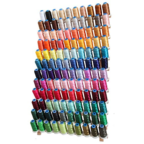 120 Cone Rayon Embroidery Thread Set - Includes Black and White - 1000m Cones - 40wt - Threadart by Threadart