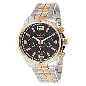 Omax Men's Black Dial Stainless Steel Band Watch - GX14C2CI
