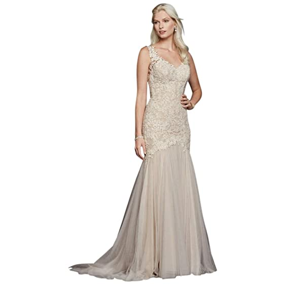 SAMPLE: As-Is Beaded Venice Lace Trumpet Wedding Dress Style ...
