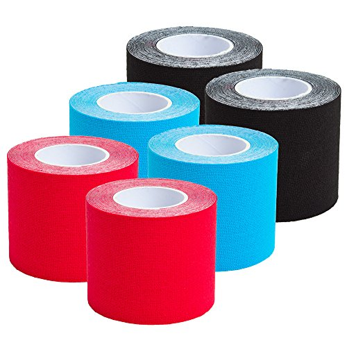 6 Rolls Kinesiology Tape 3 m x 5 cm in 8 Colours (2xBlack/2xBlue/2xRed)