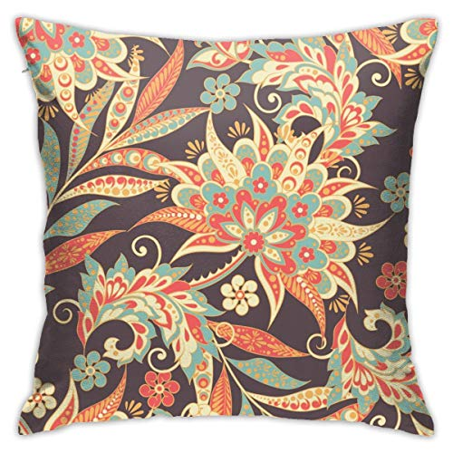 Eratdatd Customized Vintage Vector Floral Pattern 45 X 45 cm Pillow Cover, Sofa Bed Pillow Durable, Machine Wash Pillow Cover
