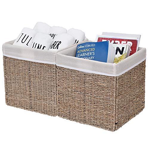Rattan Cube - StorageWorks Rectangular Wicker Storage Baskets, Seagrass Basket with Lining, Medium Baskets for Cube Storage, 10.2