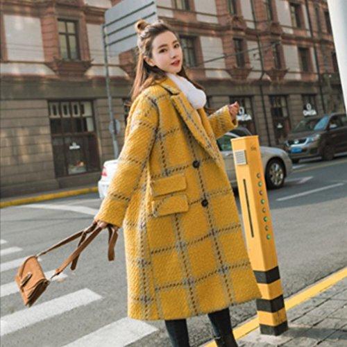 LD Wind Female Double Midties College Jacket Yellow Woolen Winter Coat Lattice and Autumn Coat Breasted gwqvIrga
