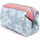 Travel Accessory Organizer Cosmetic Bag Large-capacity Travel Makeup Pouch for Women Girls Ladies Steel Frame Cosmetic Bag (Blue flamingo)