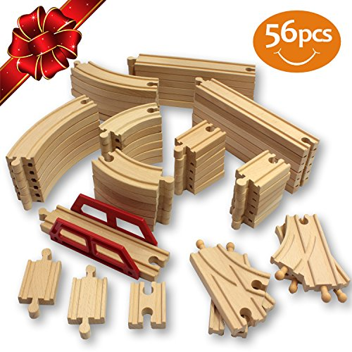 #1 Wooden Train Tracks 56 Piece Pack - 100% Compatible with Thomas, Brio, Ikea, and Chuggington Railway - Deluxe Real Beech Wood Set - Best Hobby For Kids With Active Minds