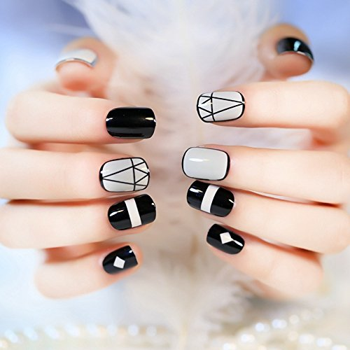 Amazon.com : CoolNail 24pcs DIY False Acrylic Nails Art Tips Diamond Model Black Edge White Triangle Full Cover Artificial Fake Lady Finger Nails : Beauty