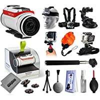 TomTom Bandit 4K Action Camera with Headstrap + Chest Harness Mount + Car Suction Cup + Handgrip Stabilizer + Floaty Strap + Wrist Glove Strap + Selfie Stick + Tripod + Cleaning Kit