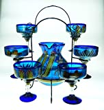Mexican Margarita Glasses and Pitcher set with display rack, Hand Blown, Hand Painted, Blue with Poncho and Cactus design