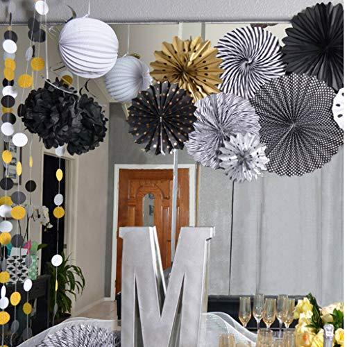 (BROSCO 6Pcs Tissue Paper Fans Pom Poms Honeycomb Ball Party Baby Room Decor Black)