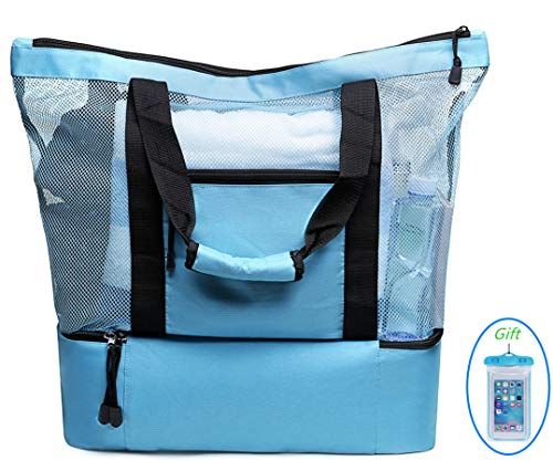(LYH Mesh Beach Bag and Totes Insulated Picnic Cooler Pool Bag with Zipper Top for Women Kids Student, (Blue))