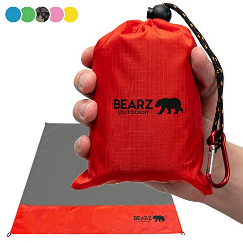 BEARZ Outdoor Beach Blanket, Waterproof Picnic Blanket 55″x60″ - Lightweight Camping Tarp, Compact Pocket Blanket, Festival Gear, Sand Proof Mat for Travel, Hiking, Sports - Packable w/Bag (Red)