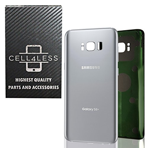 CELL4LESS Replacement Back Glass Cover Back Battery Door w/Pre-Installed Adhesive for Samsung Galaxy S8+ Plus OEM - All Models G955 All Carriers- 2 Logo - OEM Replacement (Arctic Silver)