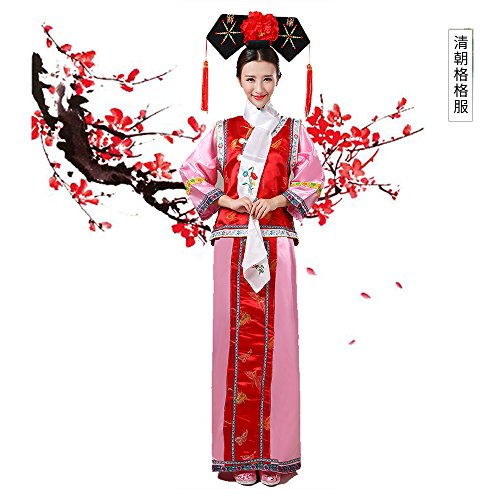 The Qing Dynasty Costume/The Princess Dress/Ancient Chinese Cosplay/Emperors Clothing/New Year's Dress/Halloween Costume/Campus Party Dress/Bridal Gowns/Spring Festival/Traditional Clothes + Hat/R-3 by 7Ancient-Chinese Aristocracy