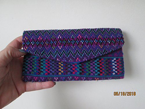 Handmade Guatemalan Woven purple geometric design wristlet huipil clutch Purse travel Wallet Bag Zipper Pouch organizer fair trade Guatemala loomed aztec mayan