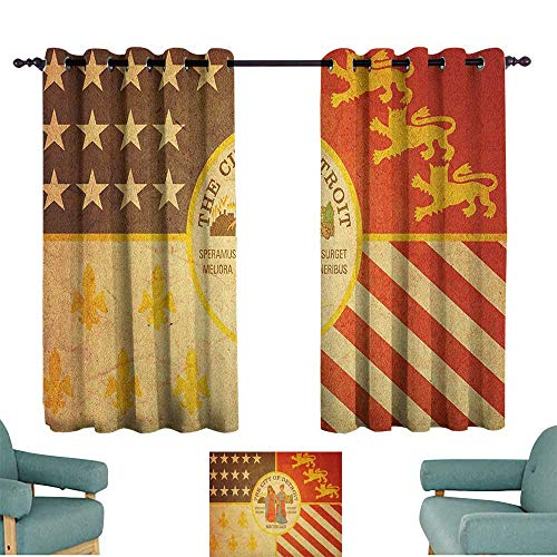 WinfreyDecor Detroit Durable Curtain Historical Old Symbol of Detroit City Rusty Looking Vintage Symbols Emblem Print 70%-80% Light Shading, 2 Panels,72