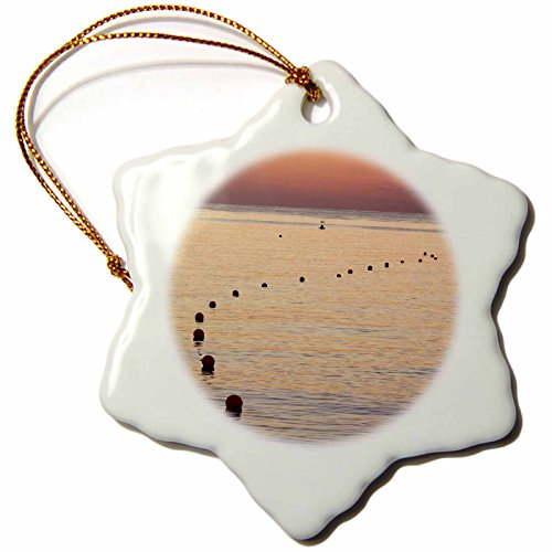 3dRose orn_75334_1 UAE, Fujairah Sunrise on Marker Buoys, Beach AS44 BJA0236 Janyes Gallery Snowflake Porcelain Ornament, 3-Inch by 3dRose