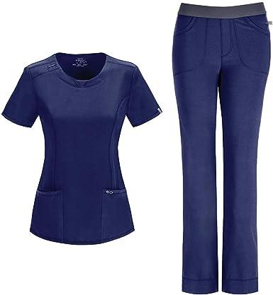 Amazon Com Cherokee Infinity Conjunto De Uniformes Medicos Para Mujer 2624a Cuello Redondo 1124a Y Pantalon Elastico De Talle Bajo Azul Marino X Small Xsmall Pequeno Clothing