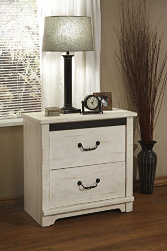 Bedroom Martin Svensson Home Coastal Farmhouse Solid Wood 2 Drawer Nightstand, Antique White farmhouse nightstands