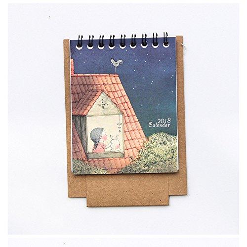 PyLios-2 pcs Kawaii Cartoon Calendar 12.59.5cm Creative Desk Standing Paper Multifunction Organizer Schedule Planner NoteBook [ F ]