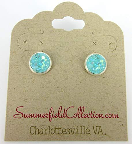 - Silver-tone Aqua Blue AB Faux Druzy Stone Stud Earrings 8mm