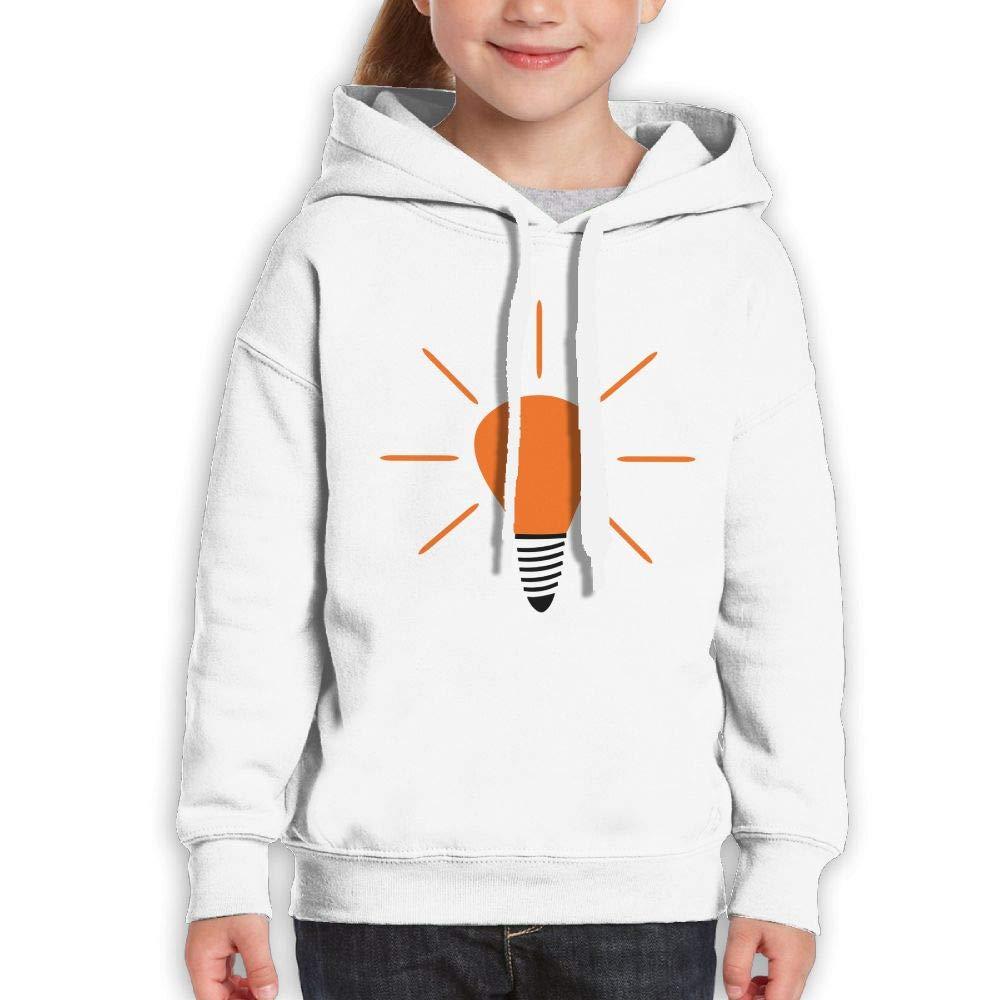 Qiop Nee Cartoon Orange Light Bulb Childrens Hooded Print Long Sleeve Sweatshirt Girls