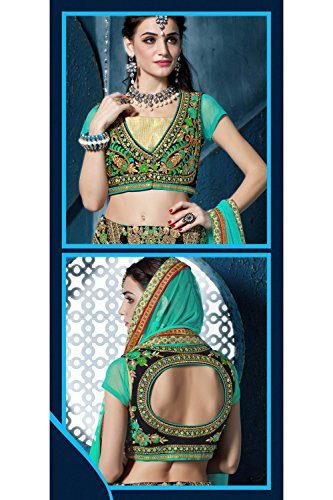 IWS Womens Greenish Blue Striking Lehenga Choli With Lace Work 81290