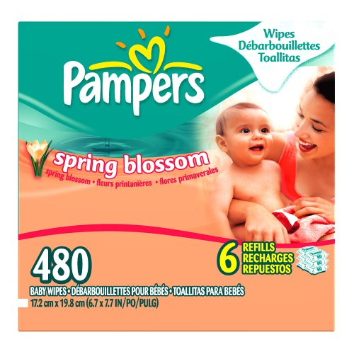 Pampers Baby Wipes Refills, Spring Blossom Scent, 480 Wipes
