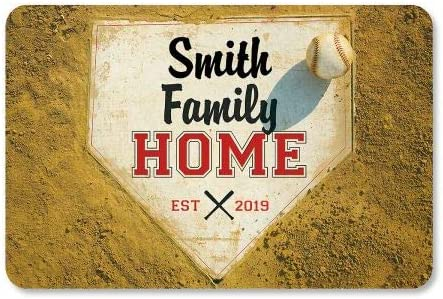 Lillian Vernon Home Plate Personalized Doormat – 18 by 27 Inch Baseball Floormat