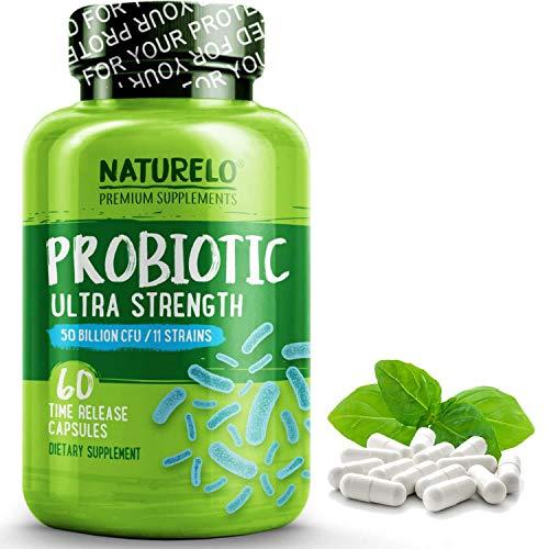 NATURELO Probiotic Supplement - 50 Billion CFU - 11 Strains - One Daily - Best for Digestive Health, Immune Support - Ultra Strength Probiotics - No Refrigeration Needed - 60 Vegan Capsules