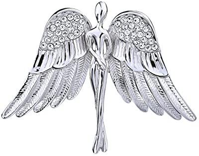 OKA JEWELRY Guardian Angel Pin Rhinestone Silver Tone Brooches for Women