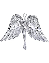 Guardian Angel Rhinestone Silver Tone Brooch Pin