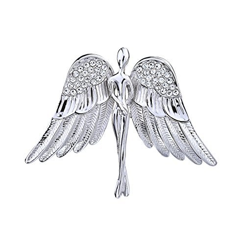 OKAJEWELRY Guardian Angel Rhinestone Silver Tone Brooch Pin