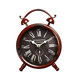 Adeco CK0032 Kensington Station Old World-Inspired Brown Iron Alarm Clock Style Wall Hanging or Table Clock with Roman Numerals, Red