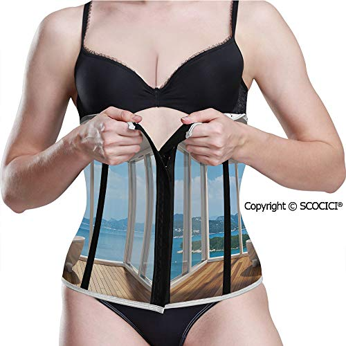 Women Printed Waist Trainer Corset Vintage Barber Pole Helix of Pattern Girdles (Best Way To Become A Barber)