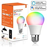 Smart Light Bulb, RGBCW Wi-Fi LED Bulb A19[8W 810LM] Dimmable Multicolored Lights, No