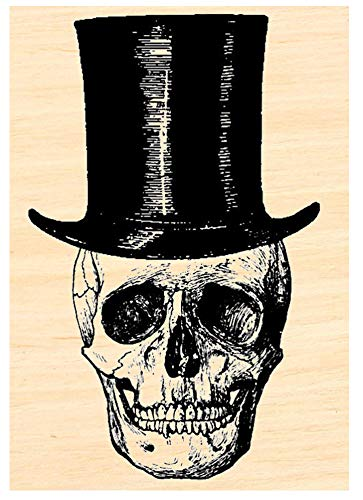 Skull With Top Hat - Skull with Top Hat Rubber Stamp p34
