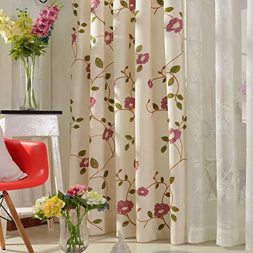 VOGOL Embroidered Curtains for Living Room White Linen Grommet Window Treatmen for Bedroom, Two Panels, 52x106, Red Flower in White (Treatmens Window)