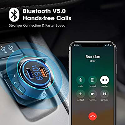 VicTsing (Upgraded Version) V5.0 Bluetooth FM Transmitter for Car, QC3.0 & LED Backlit Wireless Bluetooth FM Radio Adapter Music Player/Car Kit with Hands-Free Calls, Siri Google Assistant-Blue: Electronics
