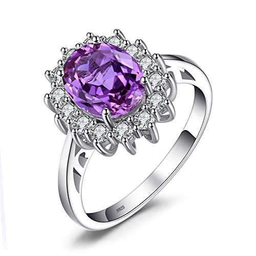 (JewelryPalace Gemstones Created Alexandrite Birthstone Halo Solitaire Engagement Rings For Women For Girls 925 Sterling Silver Ring Princess Diana William Kate Middleton Size 7)