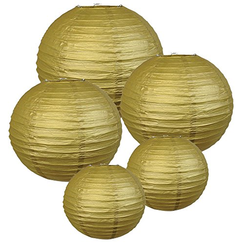 Just Artifacts (GOLD) Chinese/Japanese Paper Lanterns (Assorted: (2) 8inch, (2) 12inch, (1) 16inch) - Click for more colors!