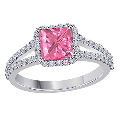 Princess Pink Sapphire Ring (Jewelryhub 2.00 Ct Princess Cut Halo Pave Eternity Lab Created Pink Sapphire & White CZ Twist Shank Engagement Ring In 925 Sterling Silver 14k White Gold Plated Size 4-12)