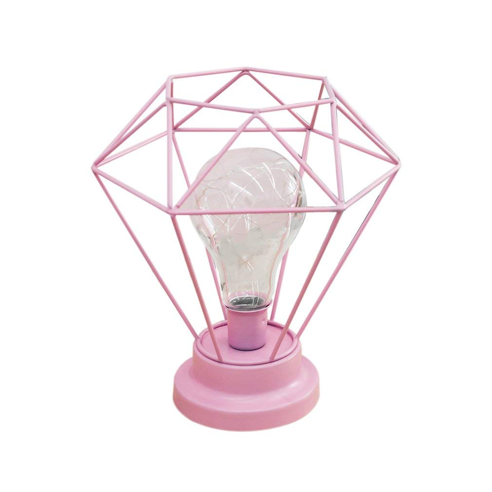Alapaste Table Lamp Bedroom Decorative Night Stand Lamp Bedside Lamp Battery Operated Diamond Shape Desk Lamp Marble Base LED Wire Lights for Bedroom Living Room