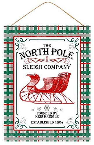 """GiftWrap Etc. North Pole Sleigh Company Christmas Sign - 15.75"""" x 11.75"""", Green Plaid Border, Red and White Wooden Home Decor, Candy Cane Stripes, Kitchen, Yard, Front Door, Patio, Classroom, Office from GiftWrap Etc."""