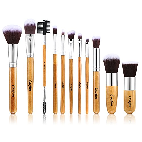 Halloween Makeup Brushes 11 Pieces Set Professional Natural Bamboo Handle for Face Cheeks and Eyes Cosmetic Eyeshadow Foundation Concealer Brush (Cream Halloween Makeup)