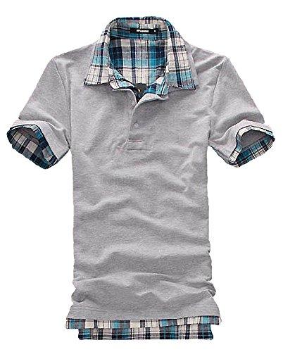 スーツ変位せがむ(SGL Collection) ポロシャツ メンズ 半袖 チェック 柄 デザイン レイヤード スリムフィット カットソー 4色選択 大きい サイズ あり S ~ XXL 【 日本向け オリジナル サイズ仕様 】