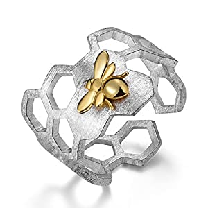 ♥Gift for Mother's Day♥ Lotus Fun 925 Sterling Silver Rings Handmade Unique Thumb Ring Natural Honeycomb Bee Open Ring…