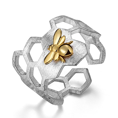 Lotus Fun S925 Sterling Silver Rings Handmade Unique Thumb Ring Natural Open Honeycomb Bee Jewelry Gift for Women and Girls]()