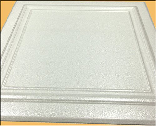 Zeta White (Foam) Ceiling Tile - 100pc Box - Decorative Ceiling Tile Easy Glue up DIY by Antique Ceilings (Image #1)