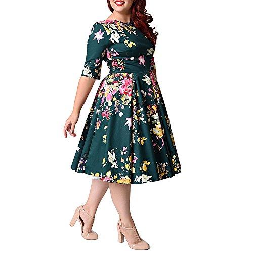 女性のヴィンテージカクテルイブニングドレス1950年代の花のパーティードレス