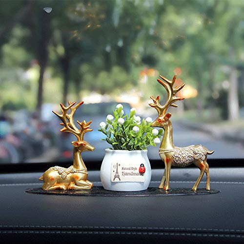 Auto Interior Decoration Peace Demeanor Lucky Deer with Anti-Skid Pad Kit Car Ornament Shake Car Decor Home Decor with 4PCS Aromatherapy Stick,Best Gift (Home Items Interior Decoration)